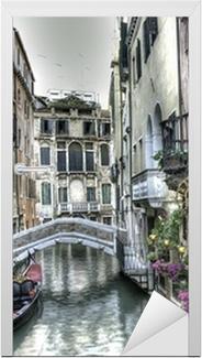 Vinilo para Puerta Gondel, Palazzi und Bruecke, Venedig, Italien