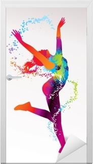 Vinilo para Puerta La chica bailando con manchas de color y toques de luz en un bac