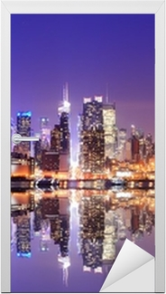 Vinilo para Puerta Manhattan Skyline con reflexiones