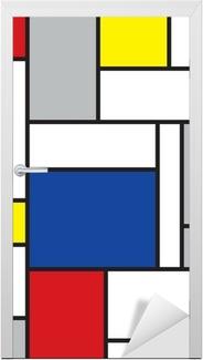 Vinilo para Puerta Mondrian arte de inspiración