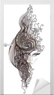 Vinilo para Puerta Mujer de pelo adornado (pintura de Cbm)