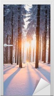 Vinilo para Puerta Puesta del sol en el bosque en temporada de invierno