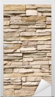 Vinilo para Puerta Stacked muro de piedra de fondo horizontal