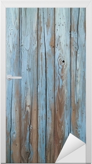 Vinilo para Puerta Vieja pared de madera azul
