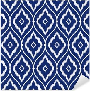 Vinilo Pixerstick Patrón azul y blanco añil de época perfecta Pérsico ikat