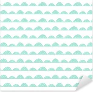 Vinilo Pixerstick Patrón de menta sin fisuras escandinavo estilo dibujado a mano. filas colina estilizadas. Modelo de onda simple para la tela, textil y ropa de bebé.