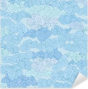 Vinilo Pixerstick Patrón de mosaico geométrico de formas abstractas remolino nube en estilo chino cielo fondo ornamental
