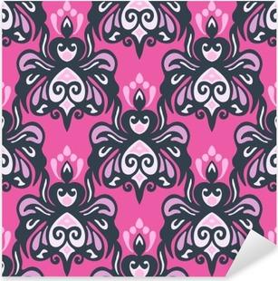 Vinilo Pixerstick Patrón de vectores sin fisuras damasco rosado moderno