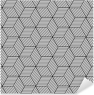 Vinilo Pixerstick Patrón geométrico transparente con cubos.