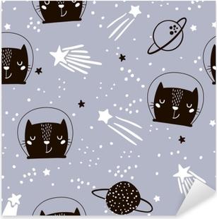Vinilo Pixerstick Patrón infantil sin fisuras con los gatos astronautas lindos. Fondo creativo de guardería. perfecto para niños diseño, tela, envoltura, papel pintado, textil, ropa