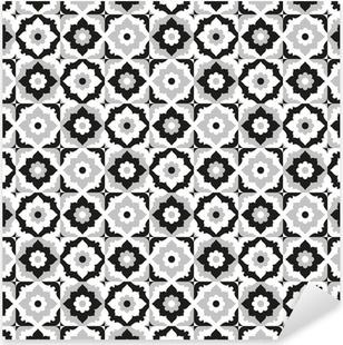 Vinilo Pixerstick Patrón sin fisuras negro y baldosas de cerámica blanca