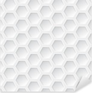 Vinilo Pixerstick Patrón transparente blanco 3d hexágono