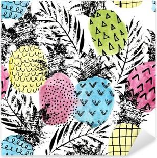 Vinilo Pixerstick Piña colorido con acuarela y grunge texturas sin patrón