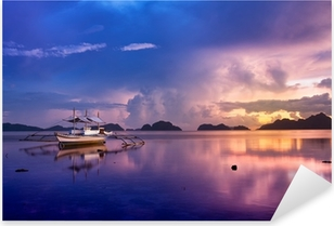 Vinilo Pixerstick Puesta de sol en El Nido, Palawan - Filipinas
