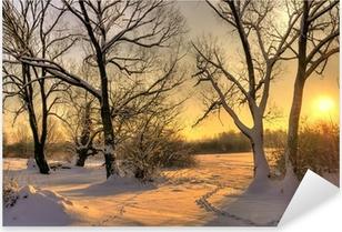 Vinilo Pixerstick Puesta del sol hermosa del invierno con los árboles en la nieve
