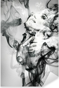 Vinilo Pixerstick Retrato de mujer abstracta. ejemplo de la acuarela