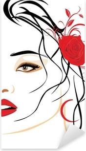 Vinilo Pixerstick Retrato de mujer hermosa con una rosa roja en el pelo