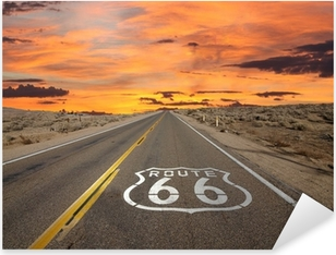 Vinilo Pixerstick Ruta 66 Pavimento Entrar Amanecer Mojave Desert