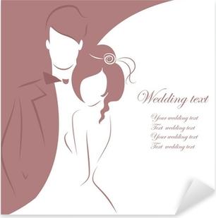 Vinilo Pixerstick Silueta De La Novia Y El Novio De Fondo - Fondo-invitacion-boda