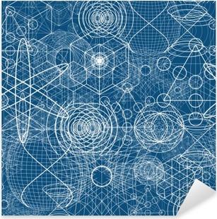 Vinilo Pixerstick Símbolos y elementos de geometría sagrada patrón de papel tapiz sin fisuras