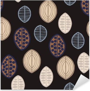 Vinilo Pixerstick Sin fisuras patrón floral con hojas primitivas. Sin fisuras patrón floral con hojas primitivas. origen étnico tribal, tonos de gris oscuro sobre fondo negro. Diseño textil.
