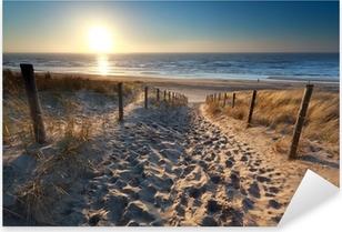 Vinilo Pixerstick Sol sobre ruta de acceso a la playa en el mar del Norte