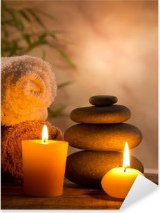 Vinilo Pixerstick Spa Bodegón con velas aromáticas