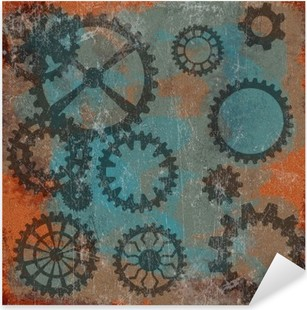 Vinilo Pixerstick Steam punk grunge de fondo con el reloj wheels__