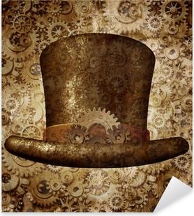 Vinilo Pixerstick Steampunk del sombrero de copa