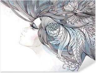 Vinilo Pixerstick Su cabello adornado con follaje