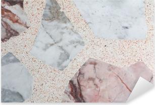 Vinilo Pixerstick Suelo de terrazo con textura de mármol, diseño de piedra pulida