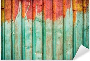 Vinilo Pixerstick Textura de la hoja de zinc oxidado utilizada en la pared exterior o el techo de