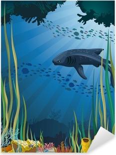 Vinilo Pixerstick Tiburón ballena y los arrecifes de coral.