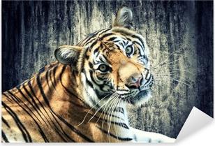 Vinilo Pixerstick Tiger contra la pared de grunge