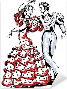 Vinilo Pixerstick Típico español flamenco ilustración vectorial