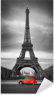 Vinilo Pixerstick Tour Eiffel et voiture rouge-Paris