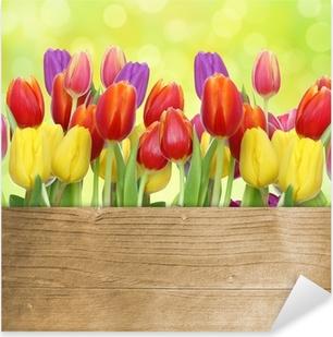 Vinilo Pixerstick Tulipanes con panel de madera