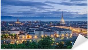 Vinilo Pixerstick Turín (Torino), alta definición panorama en el crepúsculo