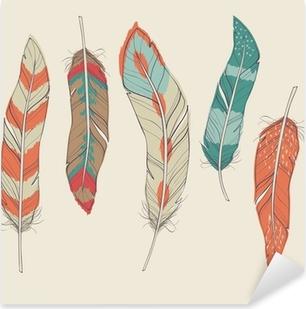 Vinilo Pixerstick Vector colorido conjunto de diferentes plumas
