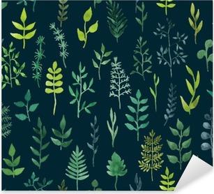 Vinilo Pixerstick Vector de acuarela verde sin fisuras patrón floral.