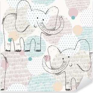 Vinilo Pixerstick Vector dibujado patrones geométricos sin fisuras con elefante