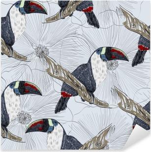 Vinilo Pixerstick Vector el bosquejo de un loro con flores. dibujado a mano ilustración