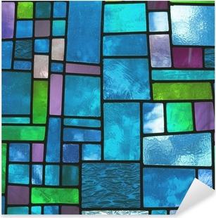 Vinilo Pixerstick Ventana de cristal azul multicolor manchado, formato cuadrado