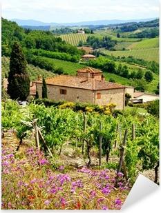 Vinilo Pixerstick Ver a través de viñedos con casa de piedra, Toscana, Italia