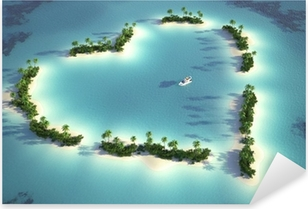 Vinilo Pixerstick Vista aérea de la isla en forma de corazón