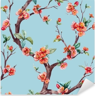Vinilo Pixerstick Watercolor raster sakura pattern