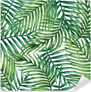 Vinilo Pixerstick Watercolor tropical palm leaves seamless pattern. Vector illustration.