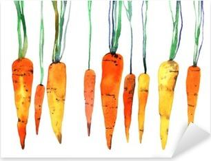Vinilo Pixerstick Zanahoria pintado a mano de acuarela