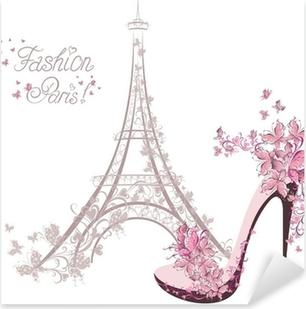 Vinilo Pixerstick Zapatos de tacón alto en el fondo de la Torre Eiffel. La moda de París