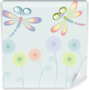 Две летящие стрекозы над цветами Vinyl Wall Mural